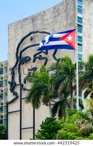 HAVANA,CUBA - JUNE 21,2015: Government building besides the Revolution Square in Havana  with a famous Che Guevara image and revolutionary slogan - stock photo