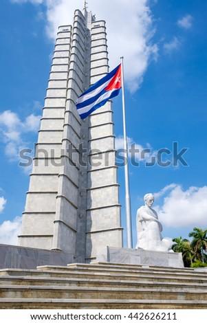 HAVANA,CUBA - JUNE 22,2016 : The Jose Marti memorial monument and a cuban flag at the Revolution Square in Havana - stock photo