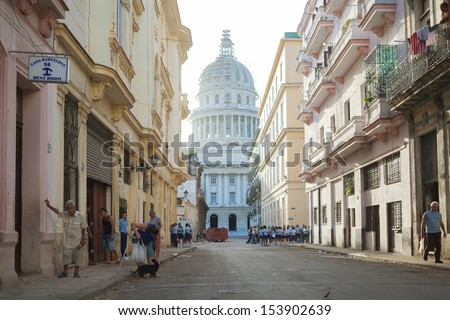 HAVANA,CUBA - JUNE 22: The national Capitol in Havana, Cuba, June 22, 2013. Havana is one of the most beautiful cities in Latin America. - stock photo