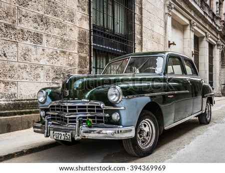 HAVANA, CUBA - MARCH 02, 2016: Green american vintage on the street in Havana Cuba