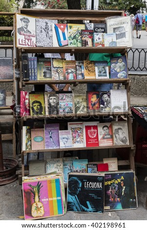 HAVANA, CUBA - MARCH 5, 2016: Open air market place for secondhand books, posters and vinyl records in Plaza de Armas, Havana´s oldest square.