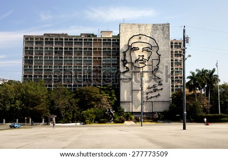 HAVANA, CUBA - MARCH 21, 2015 - The MININT building across the Revolution Plaza. MININT is the acronym for Interior Ministry which provides for protection and order in Cuban society. - stock photo