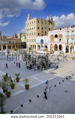 HAVANA, CUBA - MARCH 27, 2009: View of Plaza Vieja with art installation during 10th Havana Biennial.  - stock photo