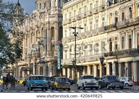 HAVANA, CUBA - May 01, 2016. Old classic cars are an iconic sight on the streets of the city - stock photo