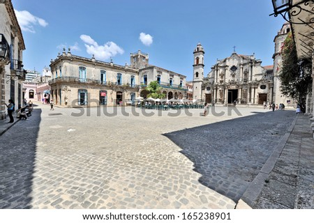 HAVANA, CUBA, MAY 6, 2009. The square of the cathedral church called Catedral de San Crist�³bal  de La Habana, in Havana, Cuba, on May 6th, 2009.  - stock photo