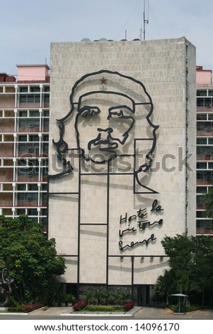 HAVANA, CUBA - Ministry of the Interior building , featuring a iron mural of Che Guevara's face at the Square Revolution