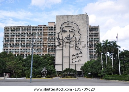 Havana, Cuba - November 27, 2013: Ministry of the Interior building with face of Che Guevara located in Revolution Square, Cuba.  - stock photo