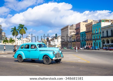 HAVANA,CUBA - NOVEMBER 24,2015 : Street scene with old american car in downtown Havana - stock photo