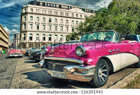HAVANA, CUBA- OCT 24, 2016: old car parked in the street with ha