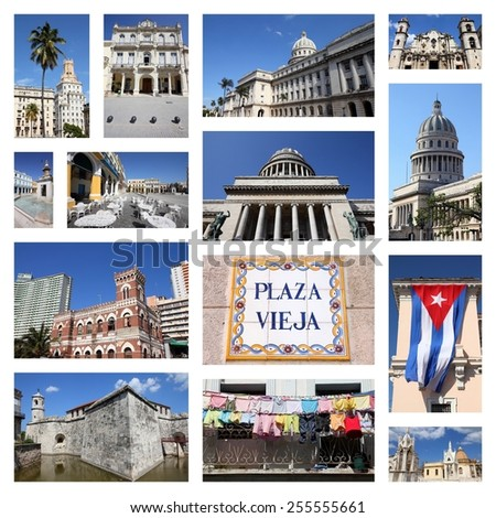 Havana, Cuba photos collage - travel memories photo collection. Images of Capitolio, the cathedral and colonial architecture. - stock photo