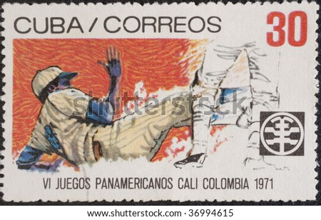 HAVANA, CUBA - 1971: Postal stamp Cuba. Vintage stamp devoted to Pan American Games in Cali, Colombia from July 30 to August 13, 1971, circa 1971.
