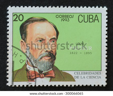 HAVANA,CUBA- REVOLUTIONARY PERIOD: Cuban postal stamp of Correos 1993 series depicting the image of scientist Louis Pasteur. - stock photo