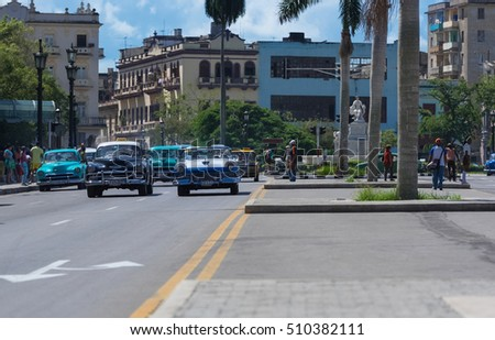 Havana, Cuba - September 14, 2016: American classic cars on the main street  in Havana Cuba - Serie Cuba 2016 Reportage