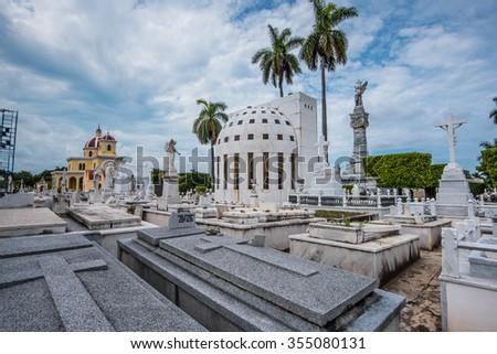 Havana, Cuba - September 22, 2015: The Colon Cemetery in Vedado,Havana,Cuba.Colon Cemetery is one of the great historical cemeteries of the world. - stock photo