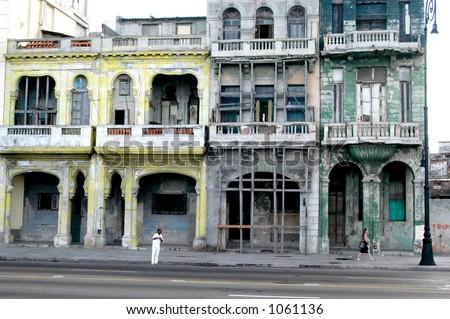 Havana, Cuba Street Scene (image contains noise) - stock photo