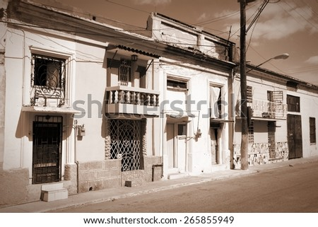 Havana, Cuba - typical residential architecture. Sepia tone - retro monochrome color style. - stock photo