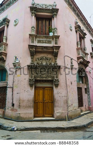 Havana, Cuba. Worn out building in the old town. - stock photo