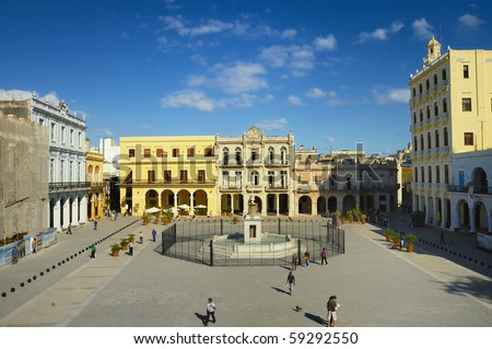 HAVANA - DEC 3RD: View of popular Plaza Vieja with its many recently restored colonial buildings on DEC 3rd, 2008 in Old Havana, Cuba. - stock photo