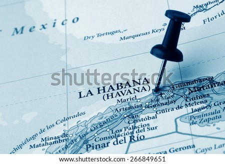 Havana  destination in the map - stock photo