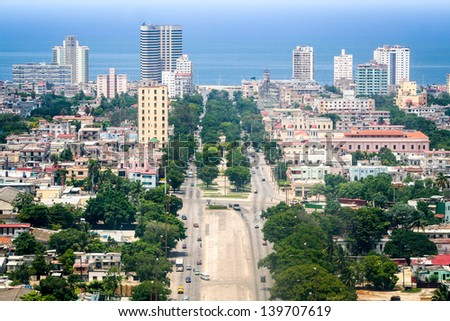 Havana downtown, pictured from Jose Marti's tower - stock photo
