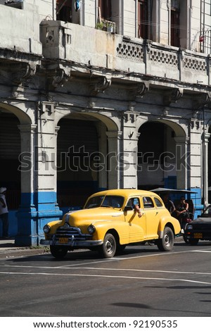 HAVANA - FEBRUARY 25: Classic American Pontiac car on February 25, 2011 in Havana. Recent law change allows Cubans to trade cars again. Old law resulted in very old fleet of private owned cars in Cuba - stock photo