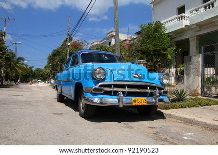 HAVANA - FEBRUARY 24: Classic Chevrolet car on February 24, 2011 in Havana. Recent law change allows Cubans to trade cars again. Old law resulted in very old fleet of private owned cars in Cuba - stock photo