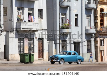 HAVANA - FEBRUARY 26: People drive old car on February 26, 2011 in Havana. Recent change in law allows the Cubans to trade cars again. Old law resulted in very old fleet of private owned cars in Cuba. - stock photo