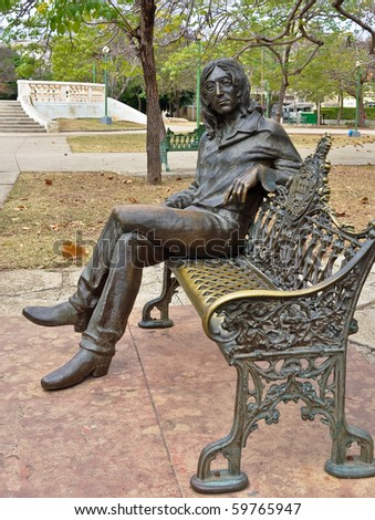 HAVANA, FEBRUARY 3:  Statue of John Lennon in John Lennon Park, February 3, 2010 in Havana Cuba.  It is a popular park, attracting many tourists every day, Lennon is revered in Cuba.