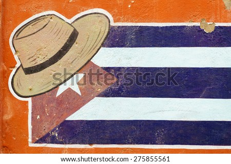 HAVANA, JAN 26: Graffiti of Cuban flag on January 26, 2015 in Havana, Cuba. When visiting Cuba, it was hard to tell the difference between graffiti and murals commissioned by the government - stock photo