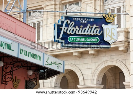 HAVANA-JANUARY 15:The historic Floridita restaurant January 15,2012 in Havana.The birthplace of daiquiri,a famous cuban cocktail,El Floridita was a favorite of celebrities like Ernest Hemingway - stock photo