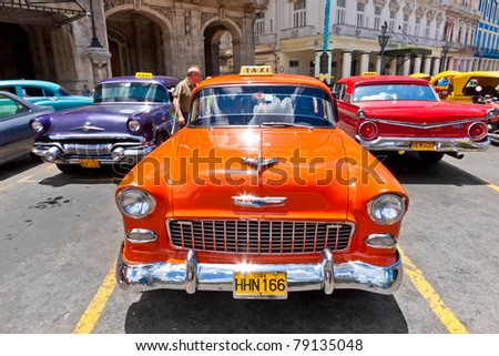 HAVANA-JUNE 4:Chevrolet and other classic cars June 4,2011 in Havana.Cubans keep thousands of old classic cars running despite the lack of parts and they've become an iconic image of the country