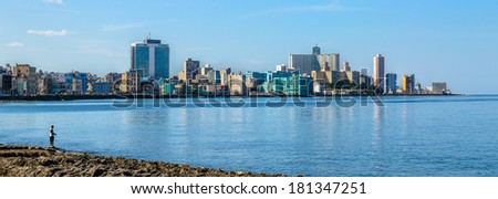 Havana Malecon - view of the Centre and Vedado. Panorama of Havana's, Cuba. - stock photo