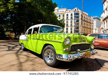 HAVANA-MARCH 16:Classic Chevrolet parked next to the Central Park March 16,2012 in Havana.Before a new law issued on October 2011,cubans could only trade cars that were on the road before 1959 - stock photo