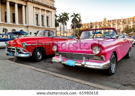 HAVANA - NOV 16: American classic cars are shown November 16, 2010 in Havana. Cubans, unable to buy newer models, keep thousands of them running despite the fact that parts have not been produced for decades. - stock photo