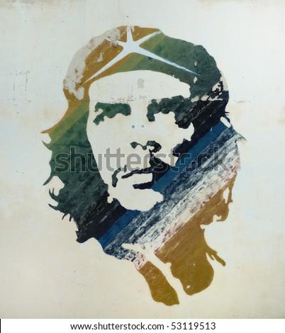 HAVANA - OCT 12, 2007. Che Guevara painting over building wall in Old Havana . Taken on October 12th, 2007 in Old Havana, Cuba. - stock photo