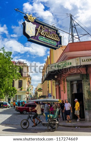 HAVANA-OCTOBER 29:The Floridita restaurant and bar October 29,2012 in Havana.The birthplace of daiquiri,El Floridita was a favorite of Ernest Hemingway and is today one of the landmarks of Havana - stock photo