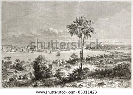 Havana old view, Cuba. Created by Lancelot, published on Le Tour du Monde, Paris, 1860 - stock photo
