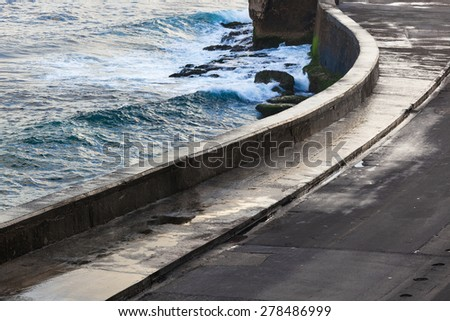 Havana's embankment in a cloudy day - stock photo