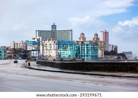 Havana seafront on a rainy day - stock photo