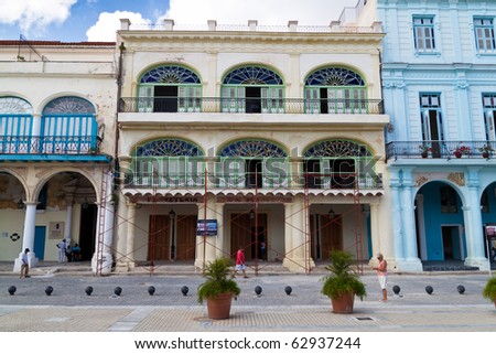 HAVANA - SEPTEMBER 26:A restored building in Havana September 26, 2010 in Havana.Old Havana, a UNESCO World Heritage Site, has seen a restoration process that returned its beauty to the city. - stock photo