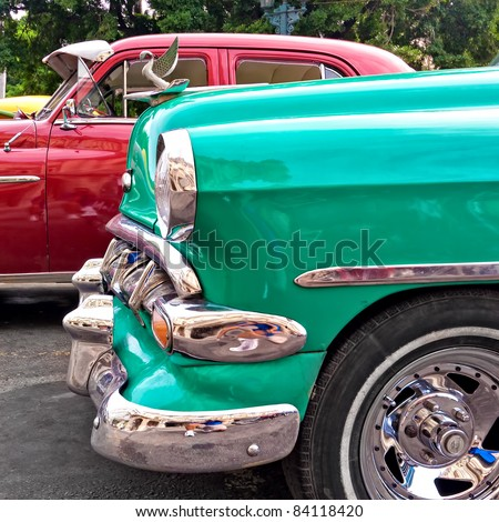 HAVANA-SEPTEMBER 1:Classic cars September 1,2011 in Havana.Under the current law that the government plans to change before 2012,Cubans can only buy and sell cars that were in use before 1959 - stock photo