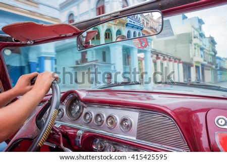 Havana, view from inside an old vintage classic american car, Cuba - stock photo