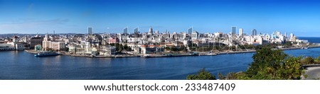 Havana. View of the old city through a bay from Morro's fortress - stock photo