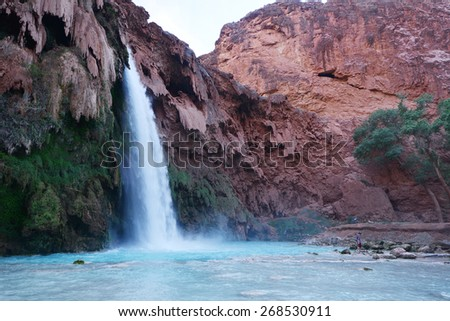 Havasu falls in an indian reservation near grand canyon - stock photo