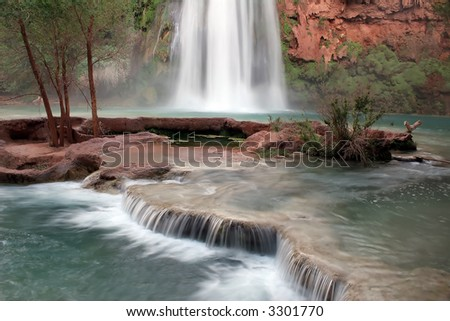 Havasu Falls located on the Havasupai Indian Reservation, Arizona - stock photo