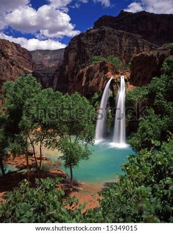 Havasu Falls, on the Havasupai Indian Reservation, located in the Grand Canyon, Arizona. - stock photo
