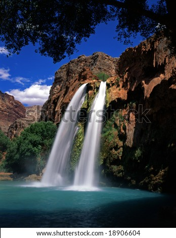 Havasu Falls, on the Havasupai Indian Reservation, located in the Grand Canyon, Arizona. - stock photo
