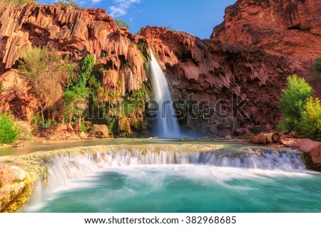 Havasu Falls, waterfalls in the Grand Canyon, Arizona - stock photo