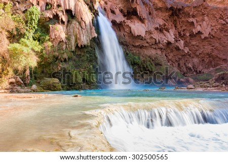 Havasupai Indian Reservation, Havasu Fall from below, Grand Canyon National Park, Arizona, USA - stock photo