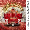 Have a Happy Canada Day graphic on Fireworks and Canadian flag background with clipping path. - stock photo
